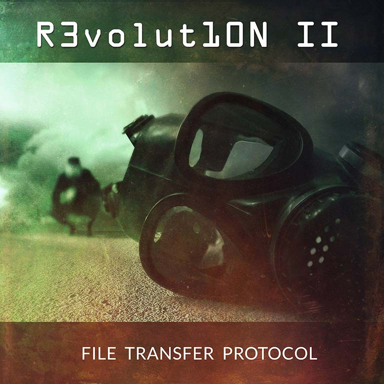 Album cover showing a gas mask on the ground with a blurry person in the background